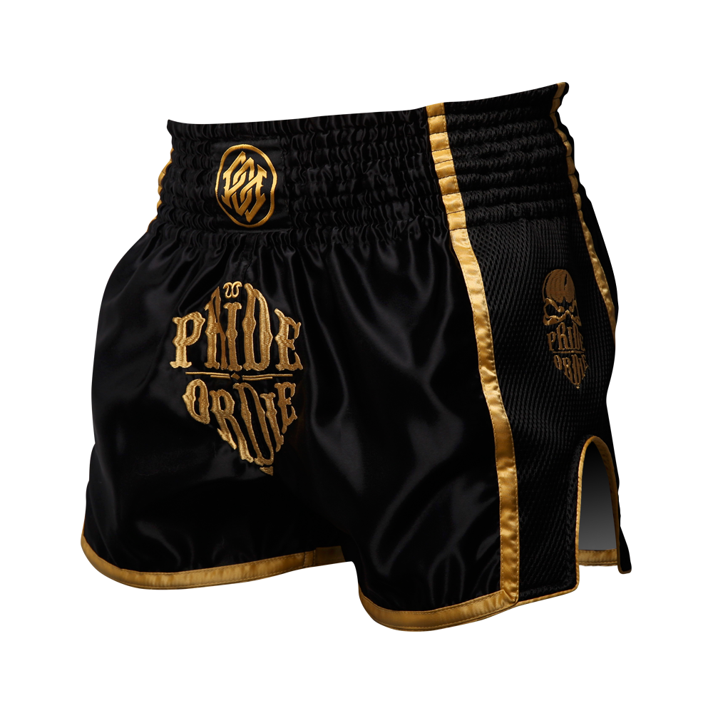 "Short Muay Thai PRiDEorDiE ""RECKLESS GOLD"" - Noir"