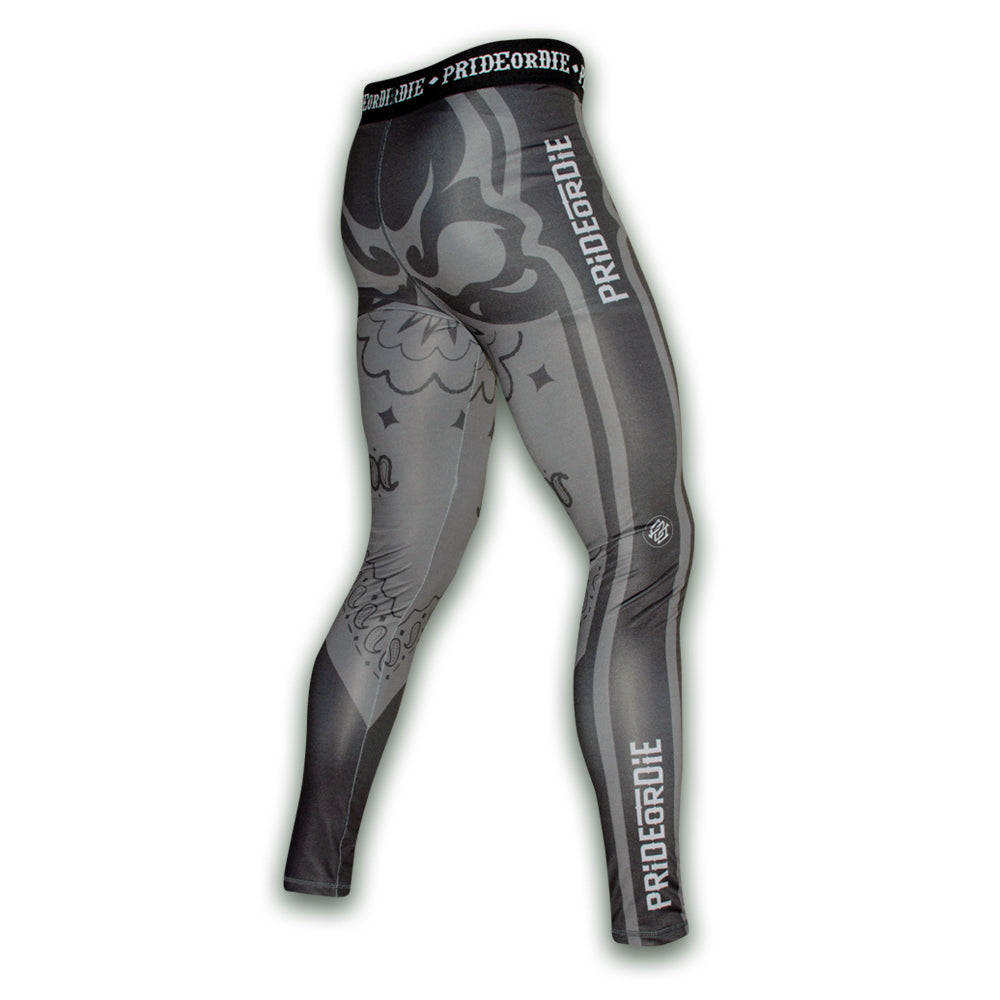 "Compression Pants PRiDEorDiE ""RUTHLESS"" - Noir & Gris"