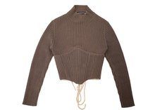 Load image into Gallery viewer, Brown Chunky Rib Knit Corset Sweater