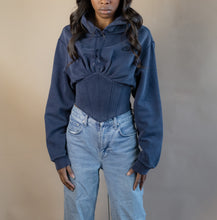 Load image into Gallery viewer, Reworked Nike Corset Hoodie (Navy) Small
