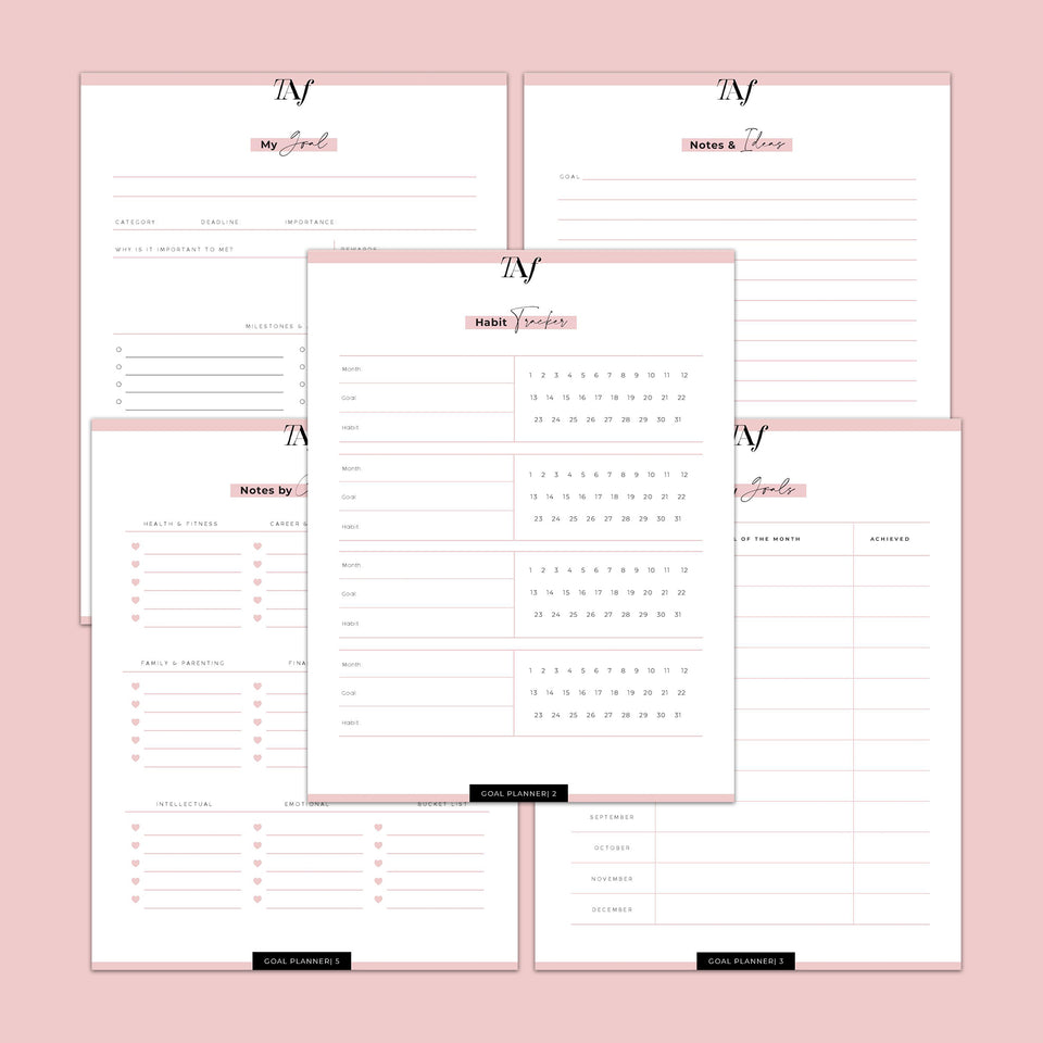 Goal Planner (5 Page E-Book Printable)