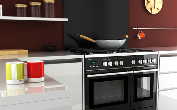 Bigblue Select cooker and black splashback