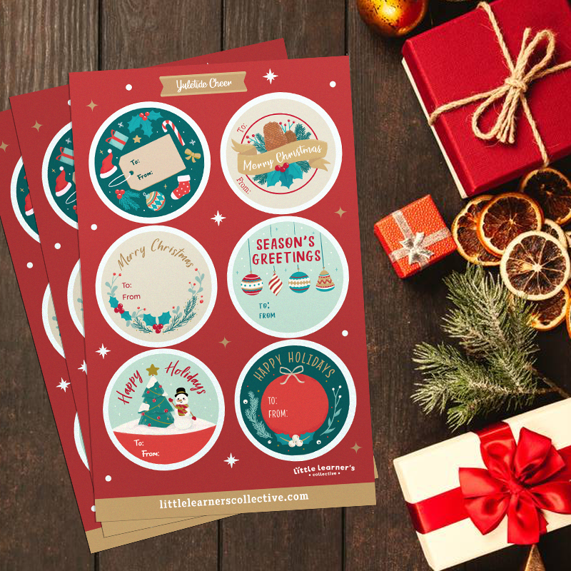 Yuletide Cheer Christmas Gift Tag Sticker Bundle