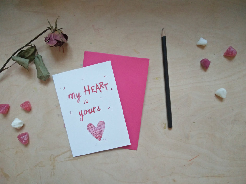 My heart is yours - Valentine's gift (card /handmade notebook)