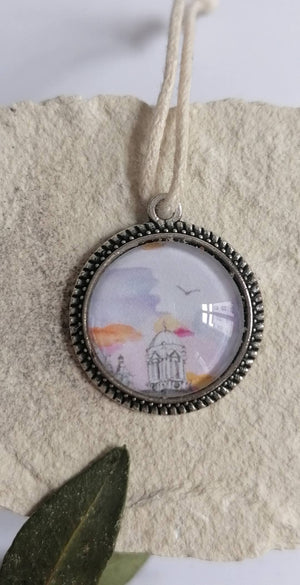 Illustrated Pendants, Zinc Alloy Bezel Tray and Glass Cabochon