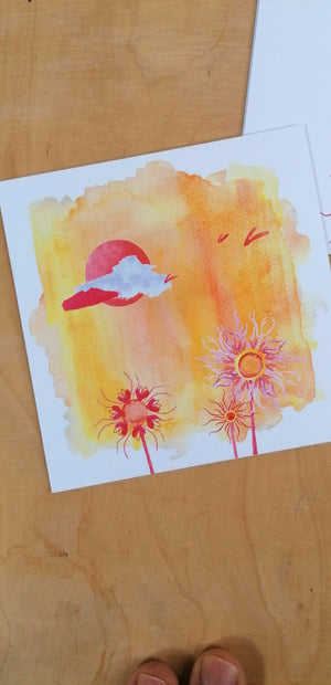 Square format Cards -Abstractaeism- Seasons (card /handmade notebook)