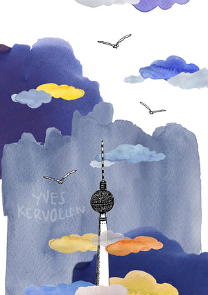 Poster of Berlin's TV Tower - Fernseh Turm, Architecture, Art.