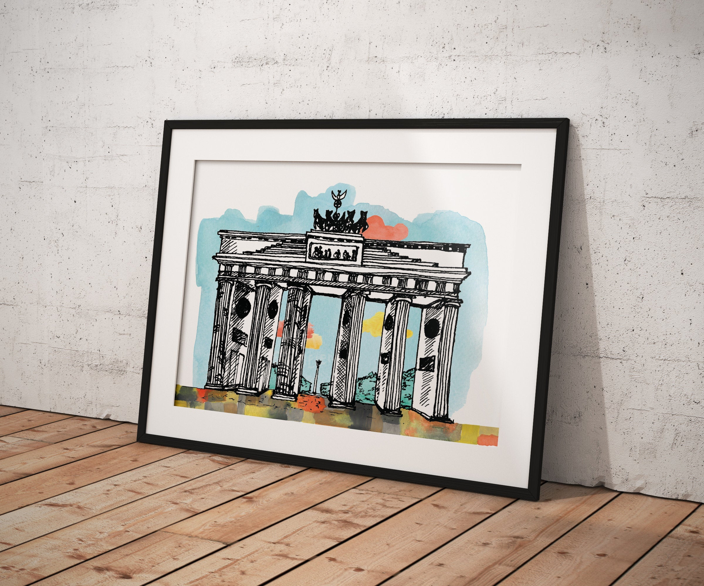 Gate of Brandenburg -Poster A5/ A4/ A3/ A2- Architecture, Art, Illsutration.