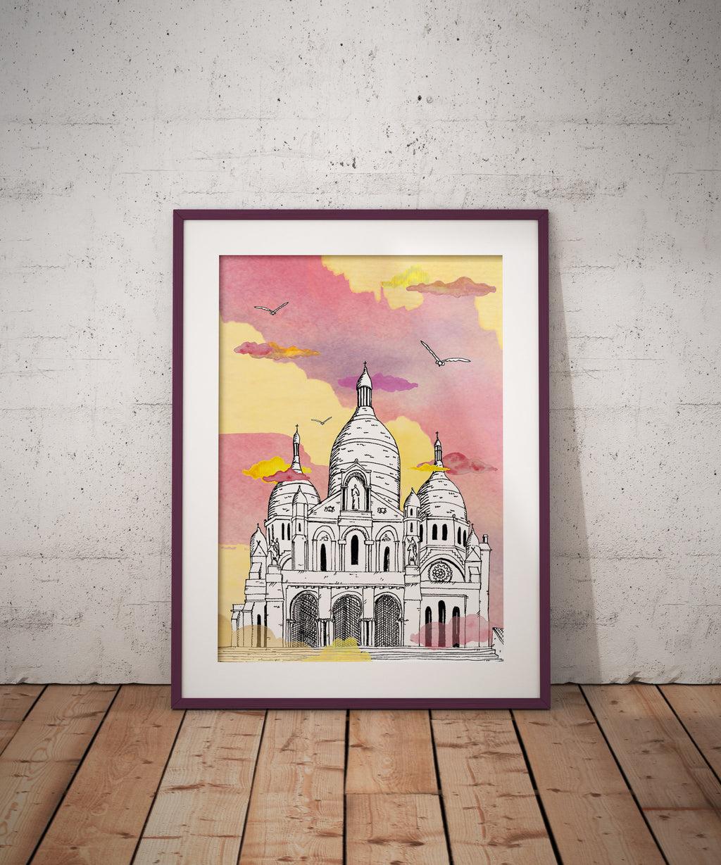 Sacré Coeur - Paris - France - A4/ A3 Poster, Architecture, Art.