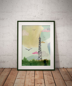 Poster of Radio Tower Berlin in Green // A4- A3 // Architecture, Art.