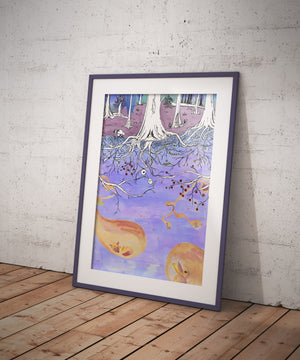 WaldWeit Illustration  - Berlin - Poster A3 - Landscape, Art, Decoration.