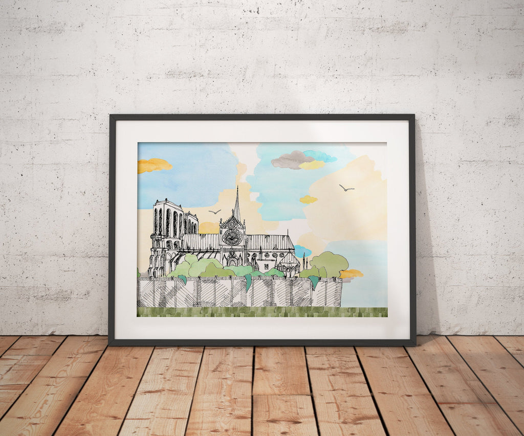 Notre Dame - Paris - France // A4-A3 // Poster, Architecture, Art.