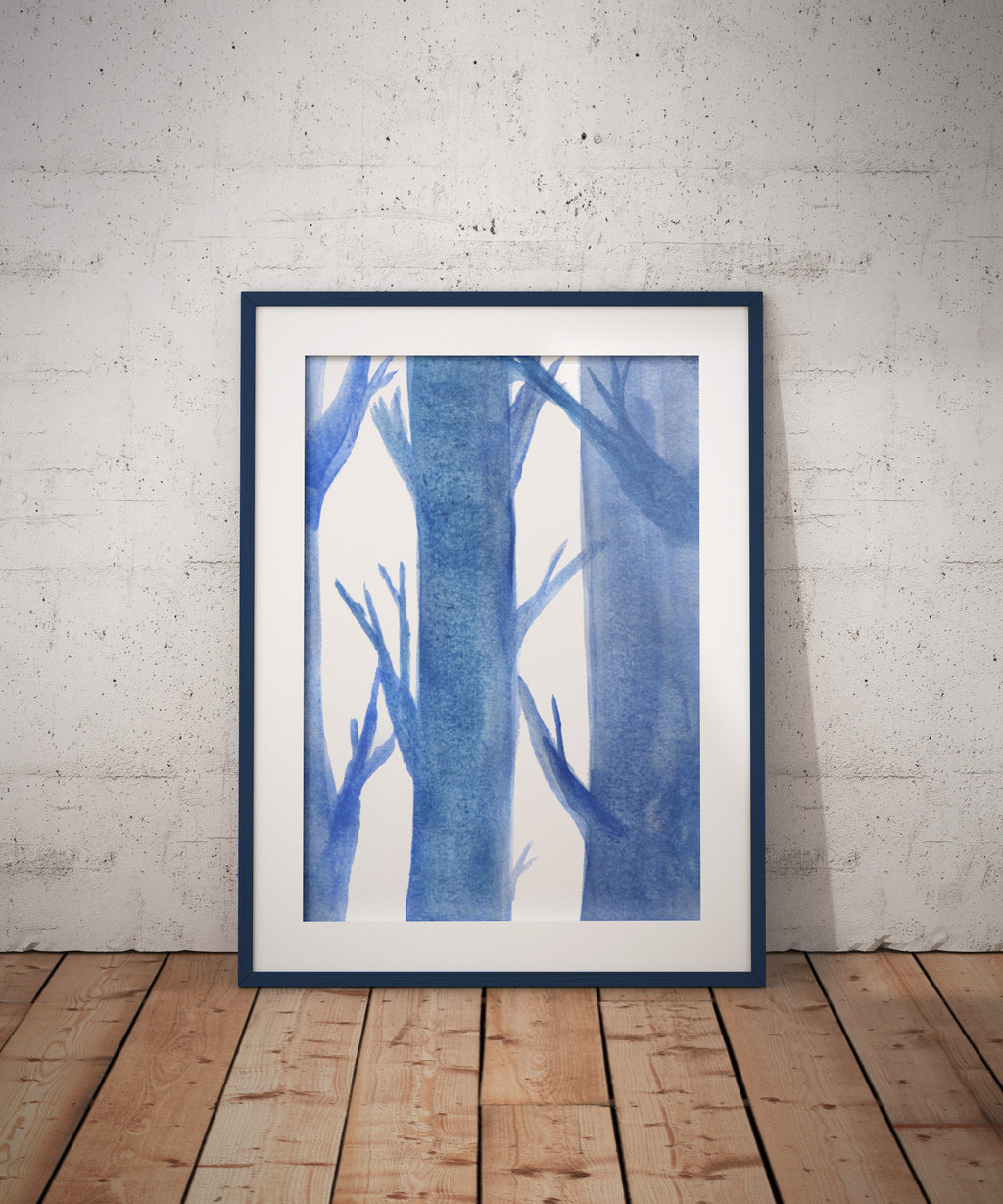 Monochromatic Trees - Watercolour - Art, Nature - Poster A4//A3