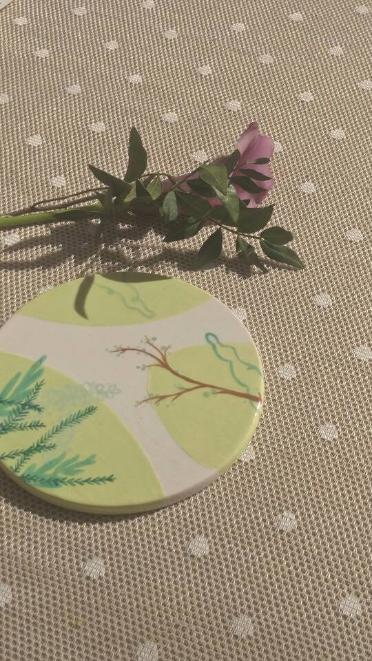 Handpainted Original Ceramic with Flowers and a Tree Branch. Size ≅ 13cm.