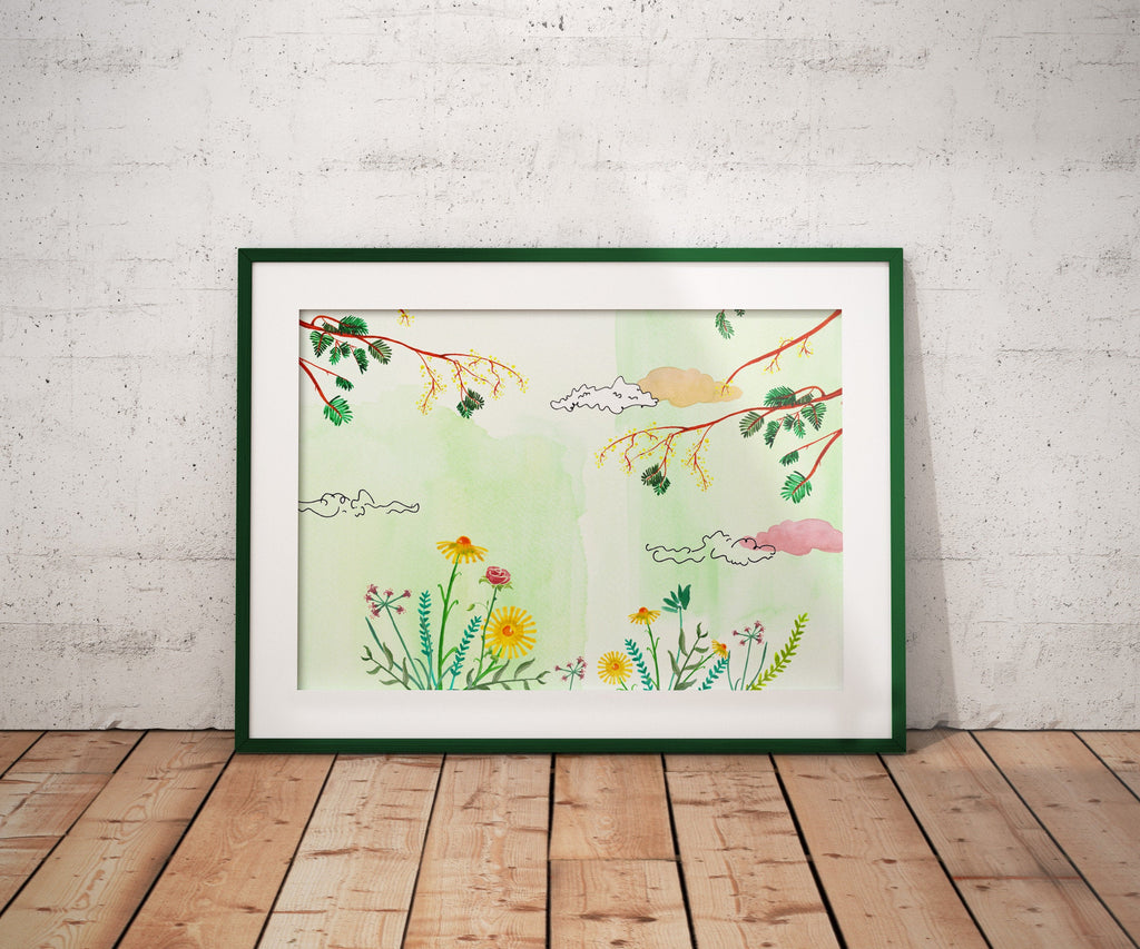 Green Floral - Poster A3 - Landscape, Art, Decoration.