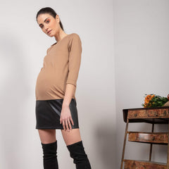 Petra punto and faux leather maternity dress