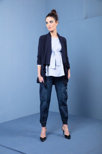 Sasha Cashmere and Wool drape cardigan with magnetic closure navy colour