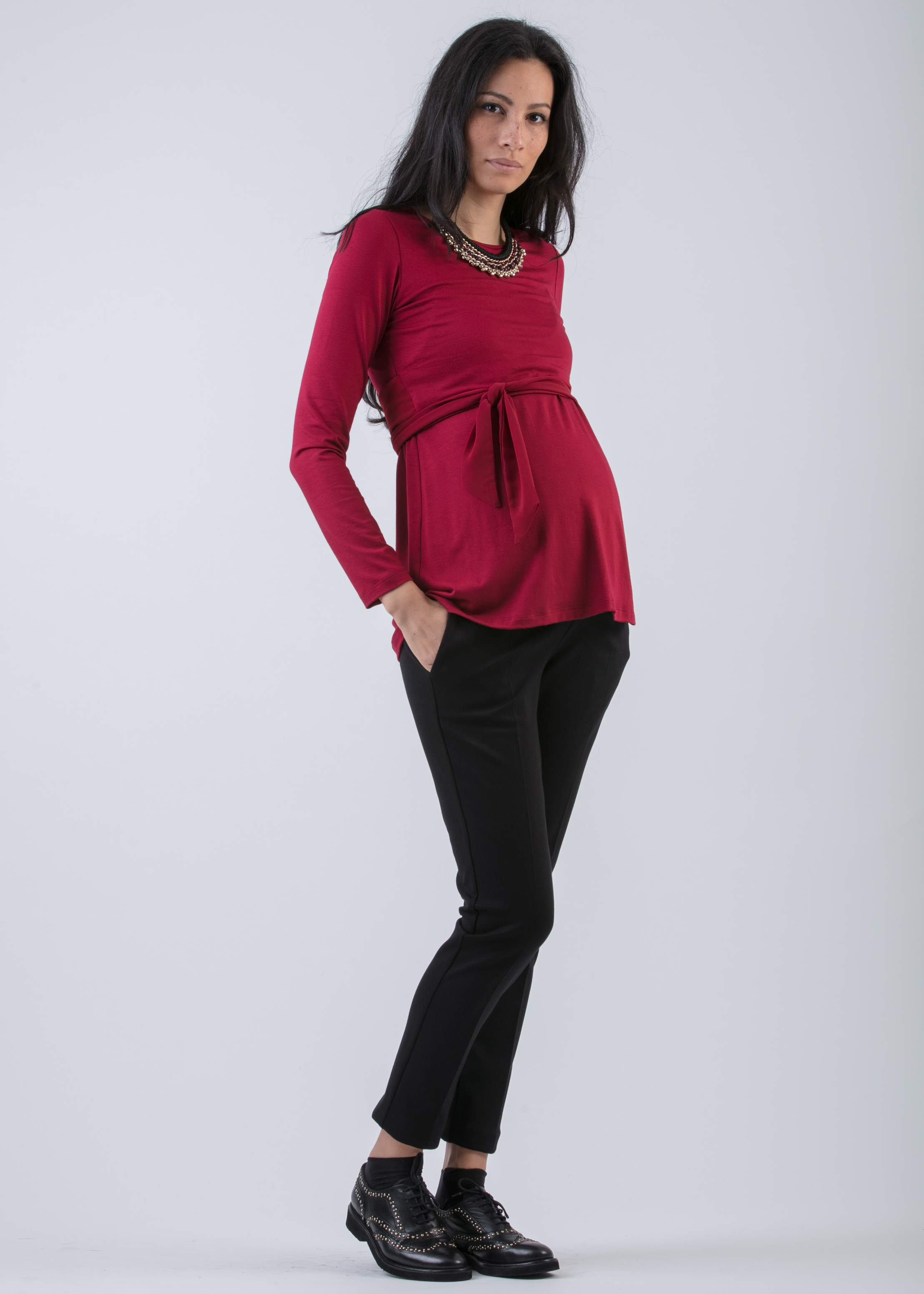 Anita Nursing Top with Long Sleeves and Chiffon Tie