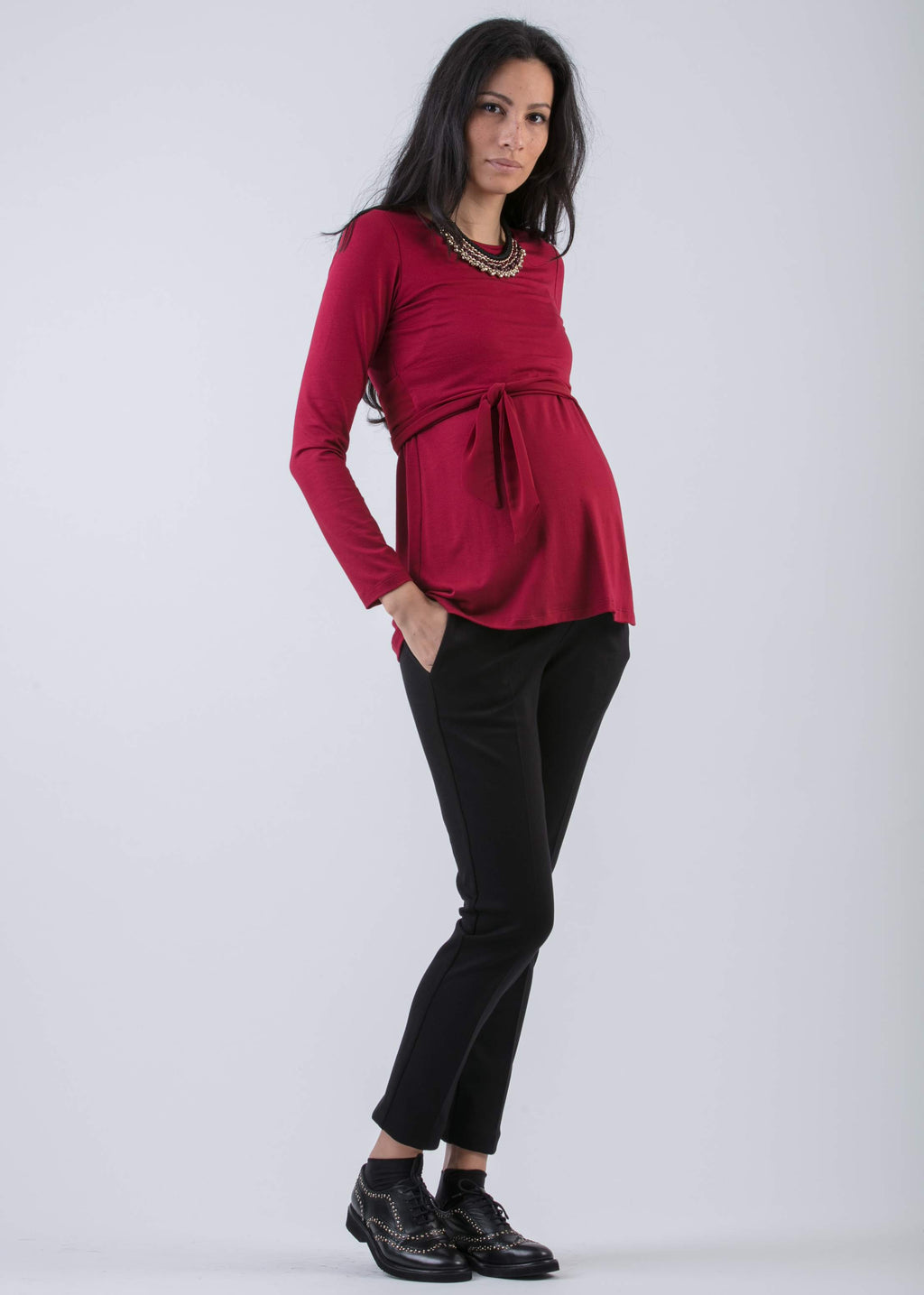 Breastfeeding and Maternity top long sleeve with chiffon tie, Red