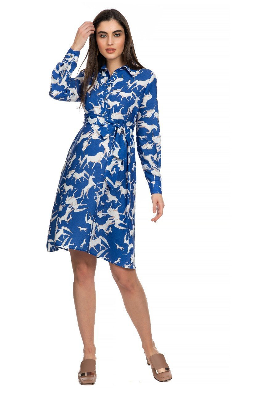 Unicorn print maternity dress with collar and soft tie belt