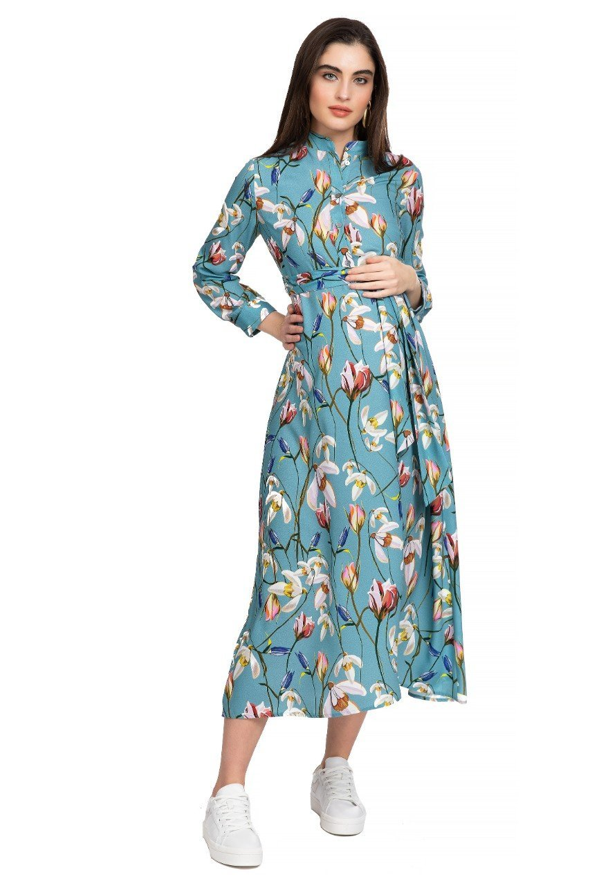 Glenn maternity maxi dress long sleeve with tie belt snowdrop print