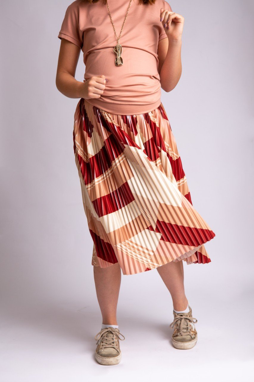 Elke Pleated Geomatric Skirt
