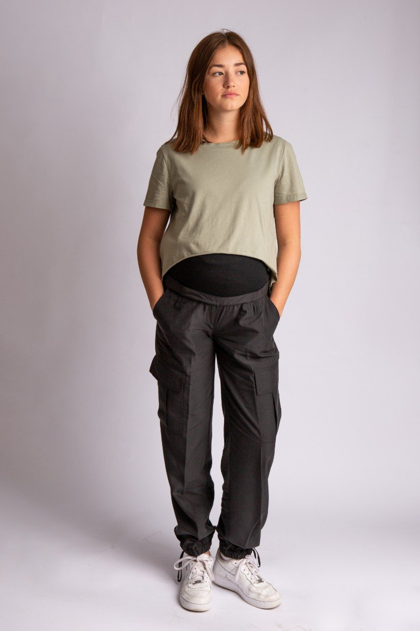 Maternity cargo pant with soft jersey belly band