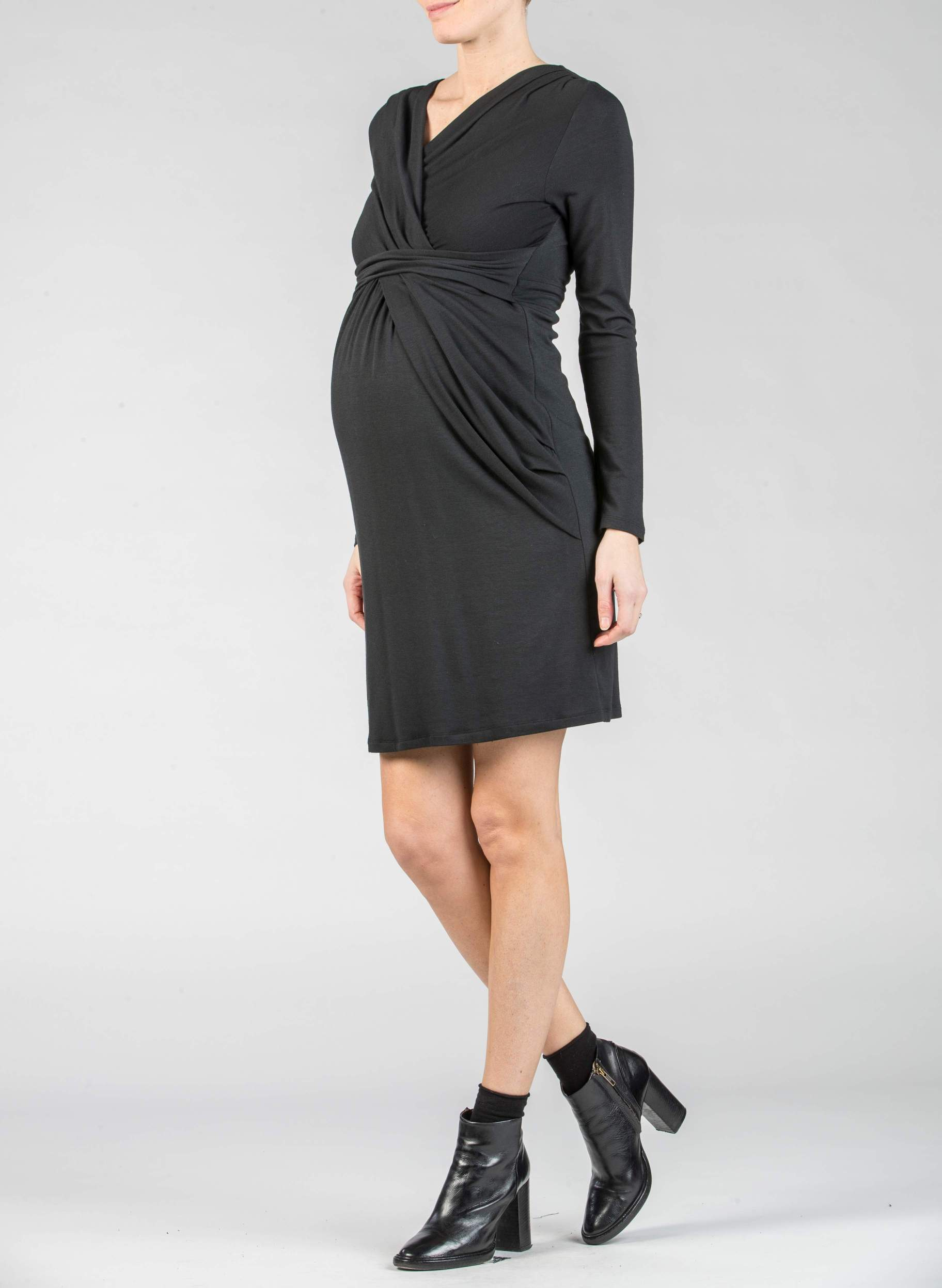 Bella wool jersey maternity dress with drape front and zip back