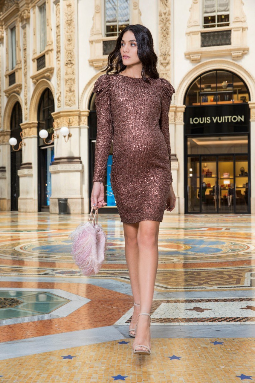 Sequin Maternity cocktail dress knee length