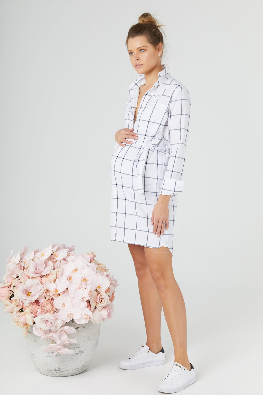 Classic Check Shirt Dress, White and Navy, for maternity and breastfeeding