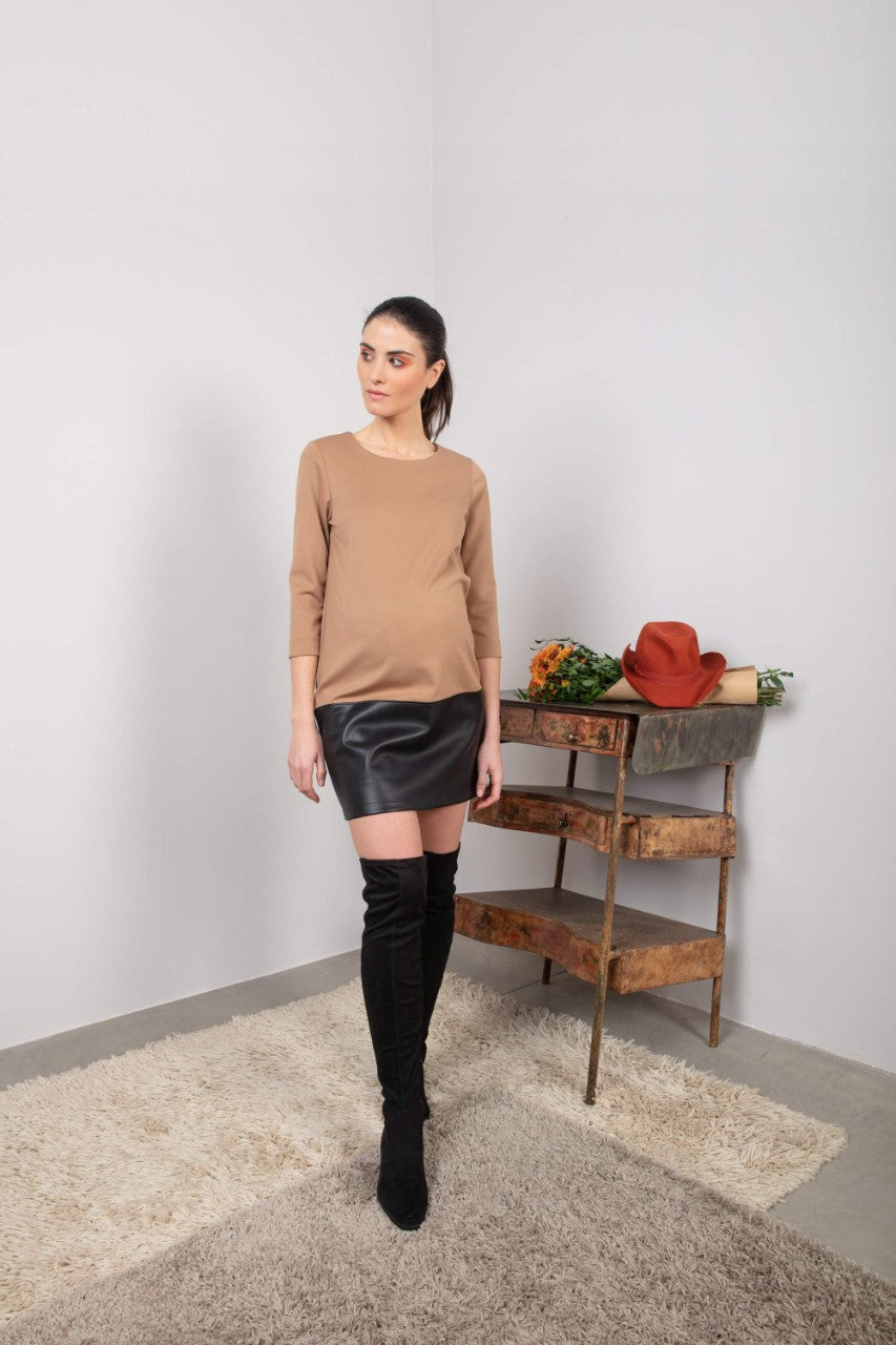 Albaa Two-Tone Jersey and Leather-look Dress