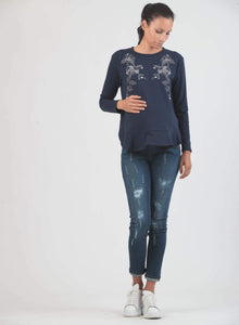 Elena Embroidered Long Sleeve Top