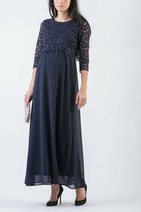 Eloise Lace and Chiffon Long formal maternity dress