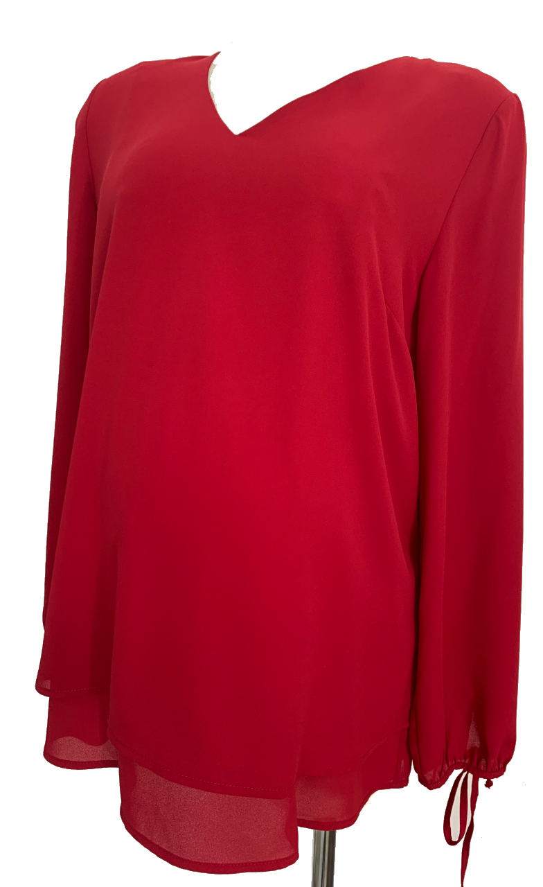 Joy Red double layered maternity and nursing top with tie sleeve