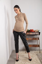 Juno Faux Leather Maternity Pants