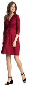 Madonna classic maternity nursing jersey dress red