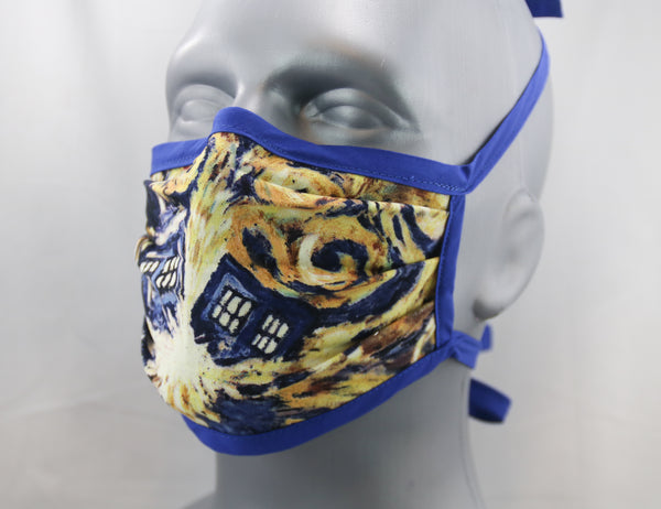 Time Machine Tie-Back Fashion Face Mask