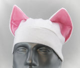 Pink and White Cat Ear Hat