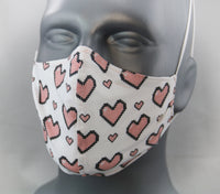 8-Bit Hearts Elastic Ear Loop Fitted Fashion Face Mask