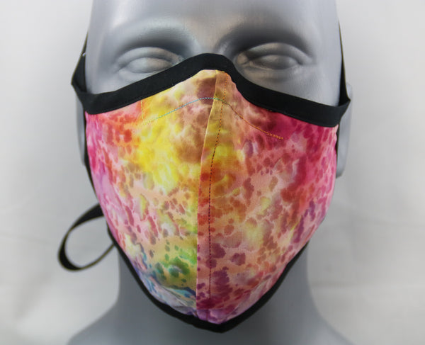 Rainbow Tie Dye Fitted Fashion Face Mask with Ties
