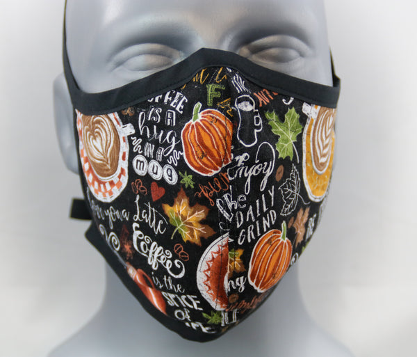 Autumn Coffee Fitted Fashion Face Mask with Ties