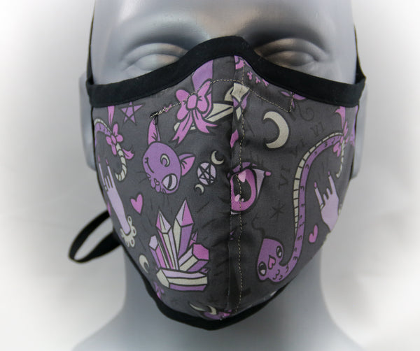 Kawaii Occult Fitted Fashion Face Mask with Ties