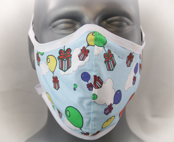 Presents Fitted Fashion Face Mask with Ties