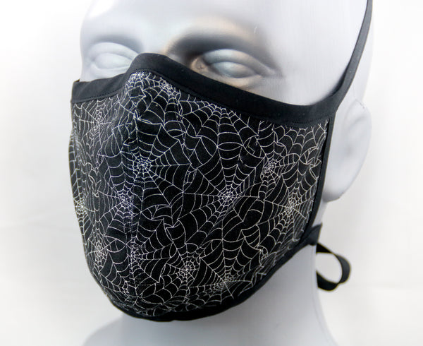 Spider Web Fitted Fashion Face Mask with Ties