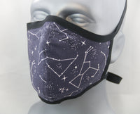 Dark Blue Constellations Fitted Fashion Face Mask with Ties