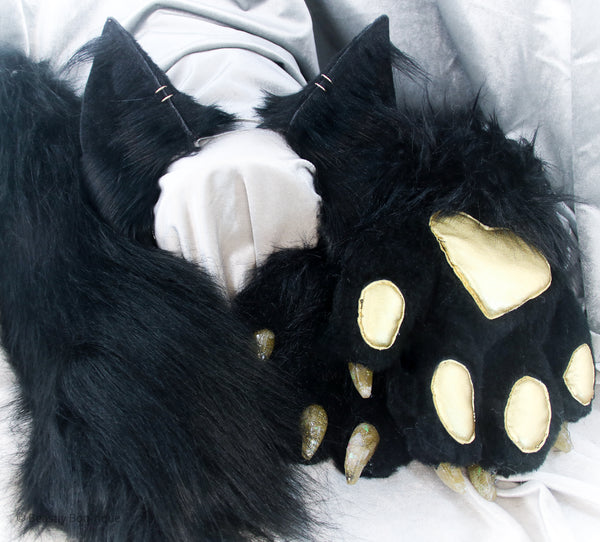 Black and Gold Faux Fur Kitten Set