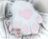 White and Pink Faux Fur Cat Paw Gloves with Resin Claws