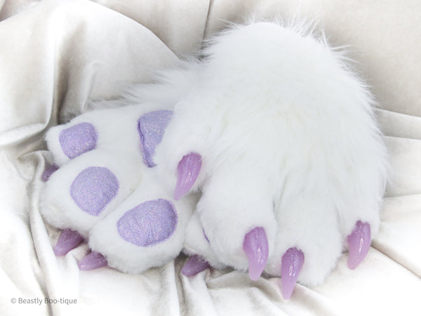 White and Purple Faux Fur Cat Paw Gloves with Resin Claws