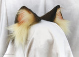 Brown and Cream Cat Faux Fur Ears