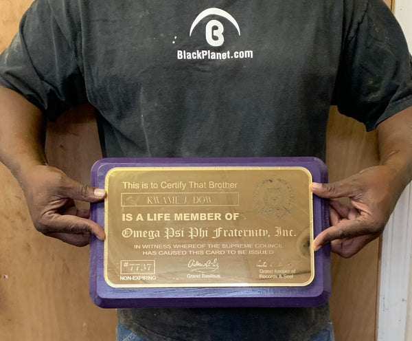 Omega Psi Phi Fraternity - Life Member Wall/Desk Card (Acrylic & Wood)